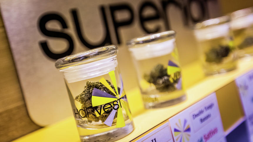 Vials of medical marijuana sit on a shelf at a Harvest Health and Recreation facility. The company plans to open medical marijuana dispensaries in Williston and the Bismarck-Mandan area. (Submitted Photo by Harvest)